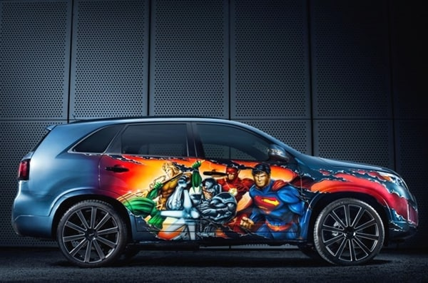 2014 kia sorento justice league concept unveiled at comic con kelley blue book. Black Bedroom Furniture Sets. Home Design Ideas